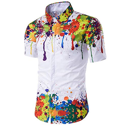 Men's Vintage Folded Printed Shirt Lapel Casual Colorful Splash Paint Pattern Fashion Long Sleeve Top White