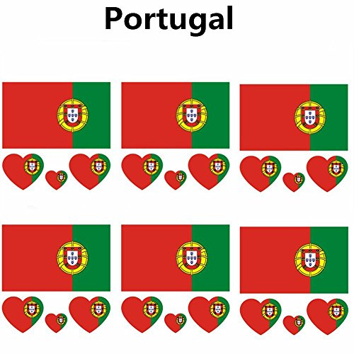 (2018 Russia Soccer Match National Flags Tattoo, Fashionable Temporary Portugal Flags Tattoo Face Body Sticker for Soccer Fans Watching Football Sports Game 6 Sheets)