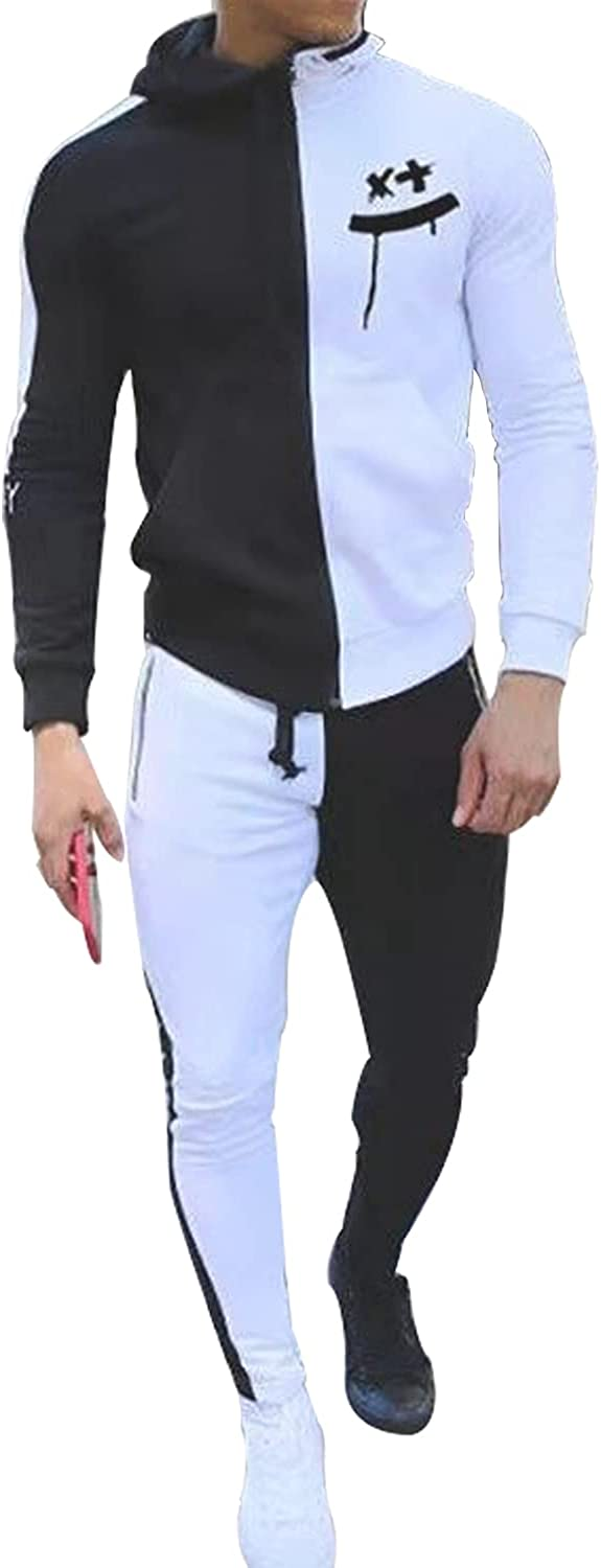 Baqian Men's Outlet ☆ Free Shipping Hooded Sweatsuits 2 Oklahoma City Mall Piece Long sleeve Full Z Casual