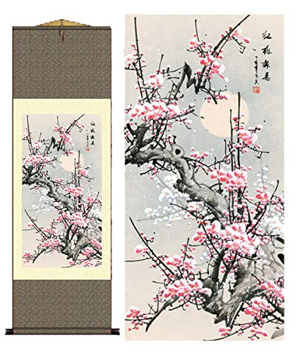 (Grace Art Asian Wall Scroll, Plum Blossom)