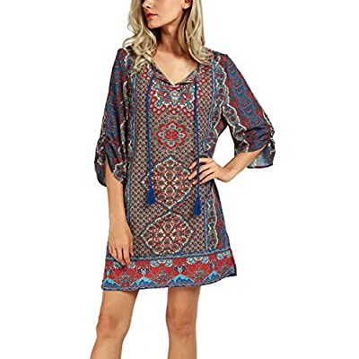 Women Bohemian Neck Tie Vintage Printed Ethnic Style Summer Shift Dress at Women's Clothing store