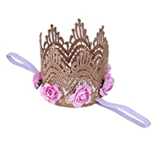 Chinatera Infant Girls Rose Flowers Gold Lace Crown Headband Baby Hair Accessories