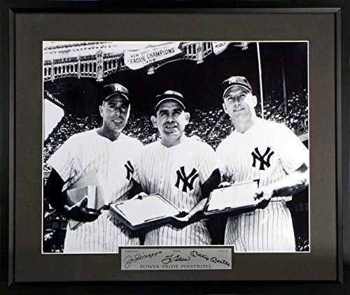 NY Yankees Legends Feat. Joe DiMaggio, Yogi Berra & Mickey Mantle 11x14 Photograph (SGA Signature Engraved Plate Series) Framed