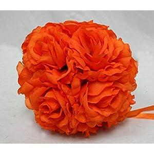 "Ben Collection 7"" Kissing Balls ~ ORANGE ~ Wedding Silk Flowers Pew Bows Centerpieces Large 30"