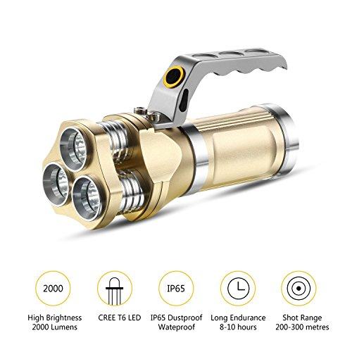 GuDoQi Linterna Recargable del LED 3 CREE T6 LED 2000 Lúmenes Ip65 Impermeable Proyector Handheld para Acampar, Ir de...