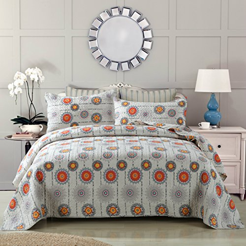 DaDa Bedding Collection Bohemian Cosmic Suns Stars Quilted Coverlet Bedspread Set - Bright Vibrant Multi Colorful Solid Grey & Orange Yellow Floral Circles Print - Full - 3-Pieces