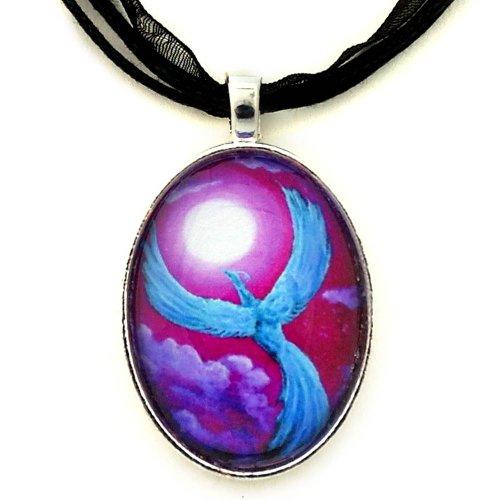 Phoenix Galleries Bird (Blue Phoenix Pendant Fantasy Bird Necklace Violet Moon Handmade Boho Jewelry)