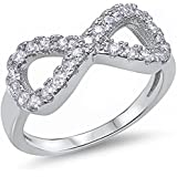 Women Chic 925 Sterling Silver Love Infinity Knot Clear CZ Promise Ring Jewelry (7)