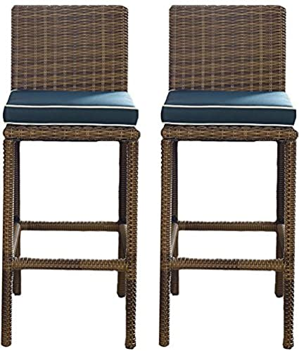 Merveilleux Crosley Furniture Bradenton Outdoor Wicker 29 Inch Bar Stools   Weathered  Brown With Navy Cushions