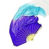 Danzcue Hand Made Belly Dance Worship Art Silk Bamboo Dance Long Fans Veils, White-Light Blue-Light Purple Left Hand