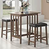 Cheap 3pc Breakfast Table and Stools Set in Nut Brown