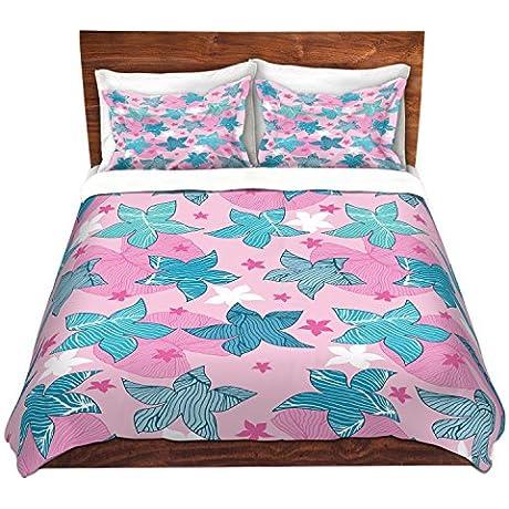 DiaNoche Designs Microfiber Duvet Covers Julia Grifol Sea Flowers Pink