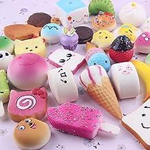 Slow Rising Squishies, TopRay 12pcs Random Kawaii Mini Soft Foods Panda Bread Bun Toasts Multi Donuts Phone Straps Charm Kids Toy Gift