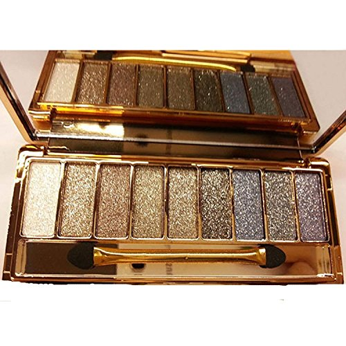 Sporthway® Women 9 Colors Waterproof Make UP Glitter Eyeshadow Palette with Brush (Color 5)