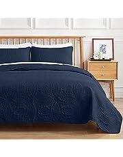 VEEYOO Bedspread Quilt Set Full/Queen Size - Soft Microfiber Lightweight Coverlet Quilt Set for All Season, Quilt Set 3 Piece (1 Quilt, 2 Pillow Shams), Navy