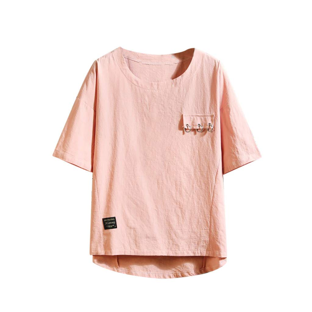 HimTak Men's Summer T-shirt with Short Sleeve, Pure Colour and Loose Collar(Pink,XXL) by HimTak
