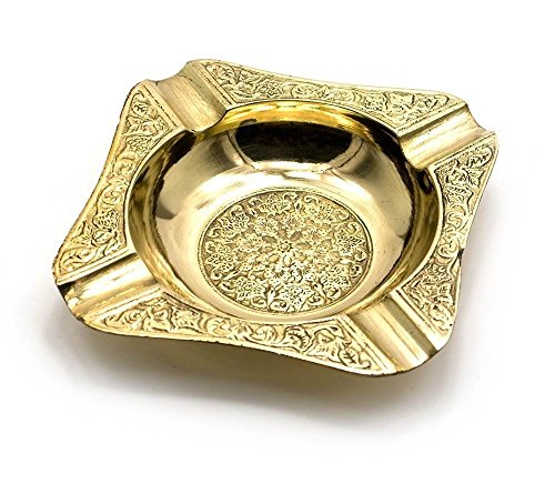 Zap Impex  Decorative Solid Brass Embossed Ashtray- 5 Inches Square