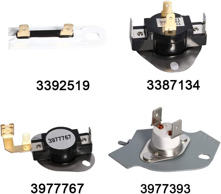 Amityke 3392519 Dryer Thermal Fuse 3387134 High-Limit Thermostat 3977393 Thermal Cut-off Switch 3977767 Cycling Thermostat Compatible with Whirlpool Kenmore Admiral Maytag Amana KitchenAid Dryers