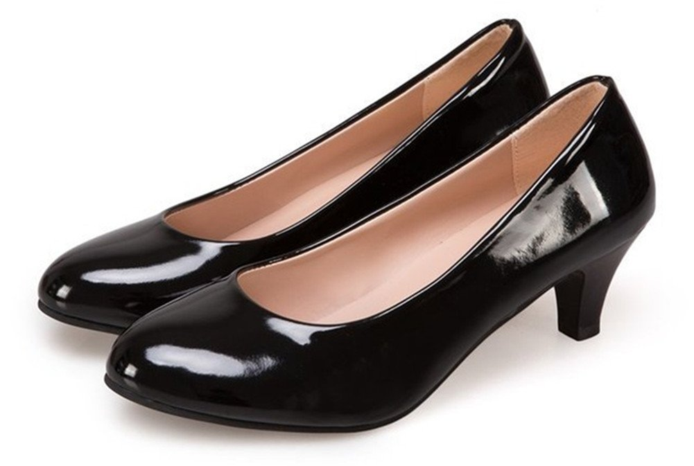 Briskme Pointed Shallow Mouthed High Heel Shoes Office Lay Large Size Working Shoes for Girls, Women (7 B (M) US/38, Black)