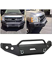 ECOTRIC 3-Piece Modular Front Bumper W/ Push Bar Compatible With 2011 2012 2013 2014 Chevy Silverado 2500/3500HD - You will receive 2 packages
