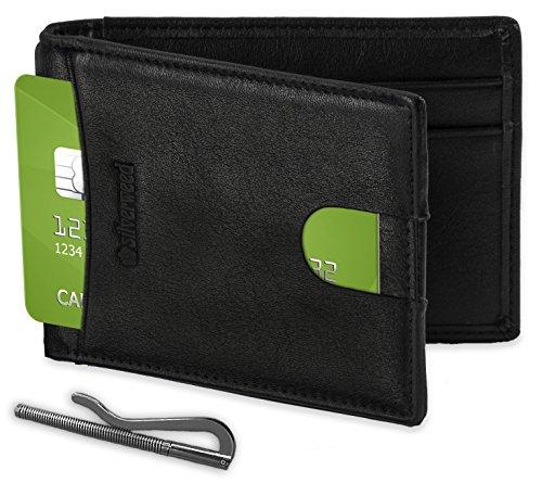 Silverweed - Vegan Slim RFID Front Pocket Money Clip Wallet ID Card Holder for Men - Black