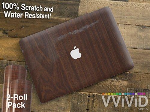 VViViD Glossy Dark Oak Faux Wood Grain Heat-Moldable Moisture-Resistant DIY Vinyl Universal Laptop Wrap 2-Roll Pack