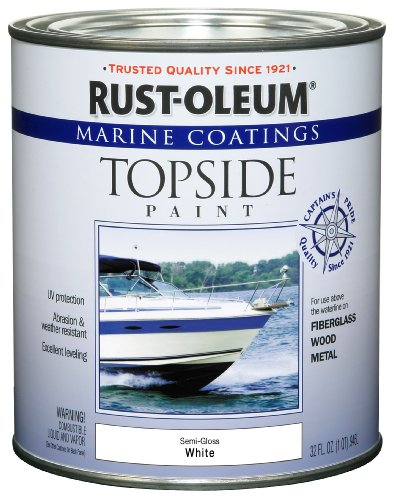 Rust-Oleum 207000 Marine Topside Paint, Semi-Gloss White, 1-Quart