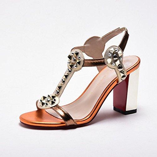 Estate moda donna sandali comodi tacchi alti,38 beige 8CM tacchi