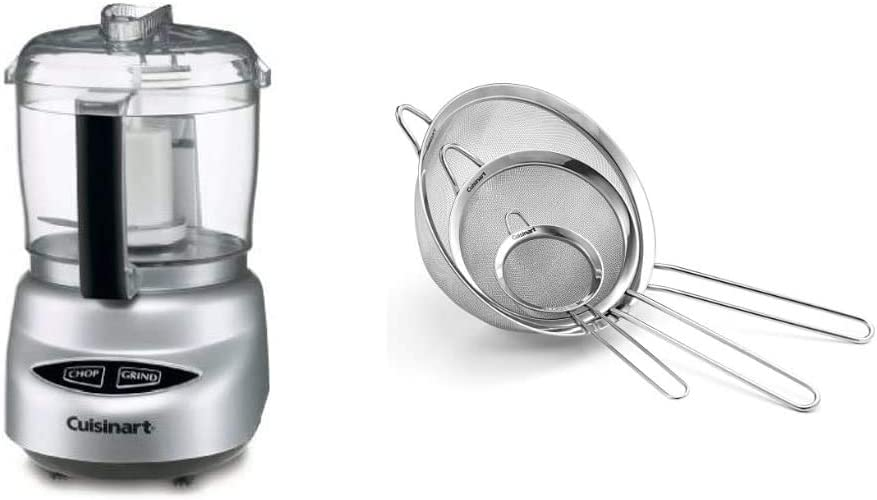 Cuisinart DLC-2ABC Mini Prep Plus Food Processor Brushed Chrome and Nickel & Set of 3 Fine Mesh Stainless Steel Strainers