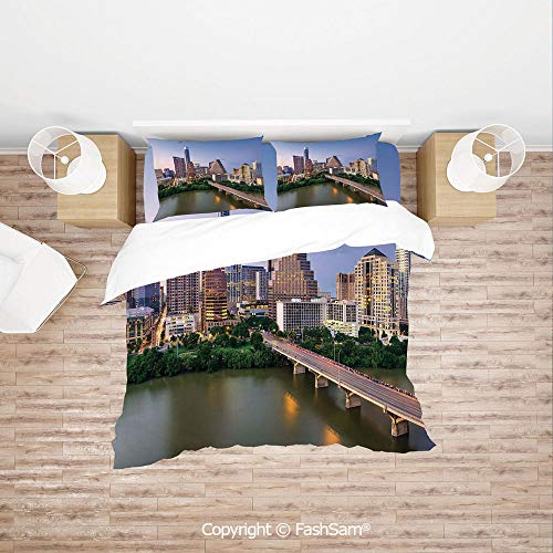 Austin Daybed - FashSam Duvet Cover 4 Pcs Comforter Cover Set Austin Texas American City Bridge Over The Lake Skyscrapers USA Downtown Picture for Boys Grils Kids(Queen)