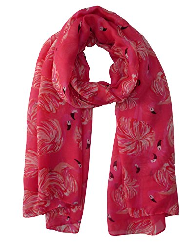 Lina & Lily Flamingo Print Womens Lightweight Scarf (Coral Pink)