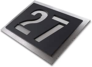 House Number - Made of Stainless-Steel and Acrylic-Glass (Black)