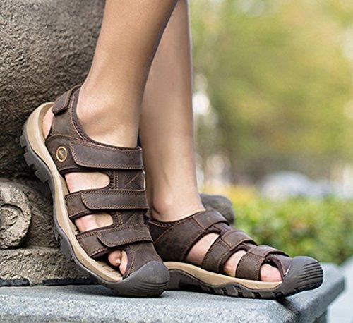 SK Studio Punta Cerrada Sandalias Hombre Trekking de Cuero Talla Grande Transpirables Zapatos Con Velcro Marron Oscuro