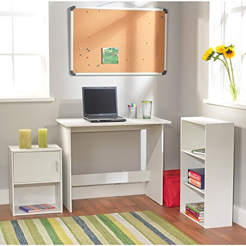 Student Desk Set with Bookcase and Storage Cube 3-piece Great Student Child and Teenager Study Nook - White by Simple Living Products