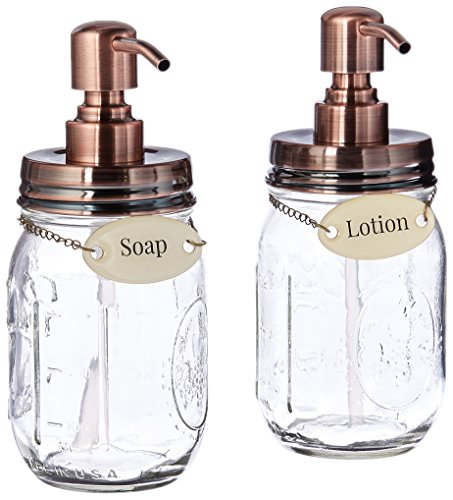 Duke Baron Soap& Lotion Soap & Lotion Set of Vintage Style Mason Jar Lotion and Soap Dispenser with Antique Finish and Brass Name Tags (Brass Lotion Dispenser)