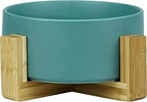 KitchenLeStar Ceramic Pet Food Bowls, Wooden Support Base,Wooden Stand Dog / Cat Bowls for Food & Water, 28 Ounce,Dishwasher Safe and Clean