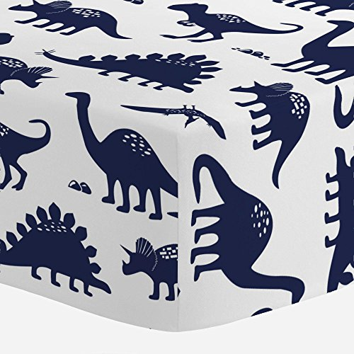 (Carousel Designs Navy Dinosaurs Crib Sheet - Organic 100% Cotton Fitted Crib Sheet - Made in The USA)