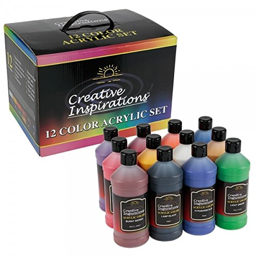 Creative Inspirations Acrylic Paint Set Non-Toxic School Value Artist Acrylic Painting Set & Carrying Case, Smooth, Rich, and Creamy Paint Large Bottles - [Set of 12-16 oz Bottles] ()