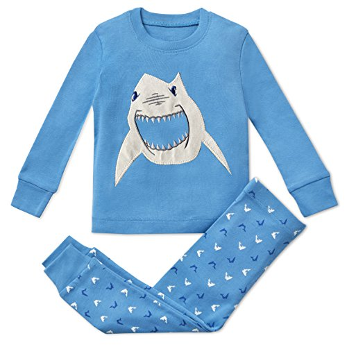 Boys Pajamas Shark 2 Piece 100% Super Soft Cotton 2Y Blue]()