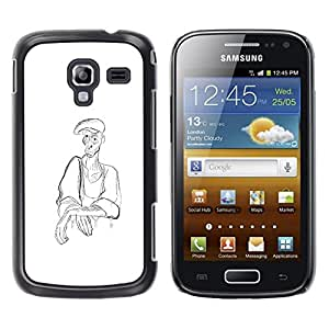 LECELL--Funda protectora / Cubierta / Piel For Samsung Galaxy Ace 2 I8160 Ace II X S7560M -- Man Peasant Art Pencil Drawing Coal Hat --