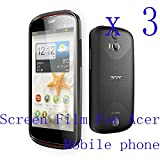 Baoer 3 Clear Glossy Matte LCD Screen Protector Film Cover Skin for Acer Mobile Phone ,Pattern:3* Glossy Screen Film;Model:Acer Liquid E700 Trio