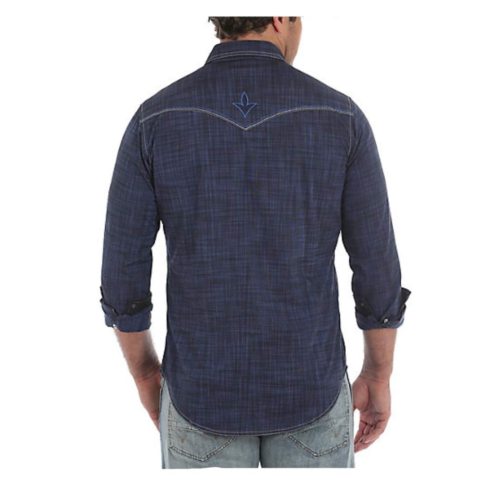 Wrangler Mens Rock 47 by Vintage Embroidered Snap Long Sleeve Shirt Mrc348n