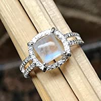 Natural Rainbow Moonstone 925 Solid Sterling Silver Engagement Ring Size 5.75, 6, 6.25, 6.75, 7, 7.25, 7.75, 8, 8.25, 8.75, 9