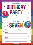 7th Birthday Party Invitations with Envelopes (15 Count) - 7 Year Old Kids Birthday Invitations for Boys or Girls - Rainbow