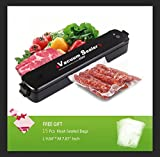 Vacuum Sealer Machine , ibdone Portable Automatic Compact Vacuum Sealing System for Vacuum and Seal for Dry Wet Foods Preservation Saver Cooking Mufti-function with 15pcs Bags - Black