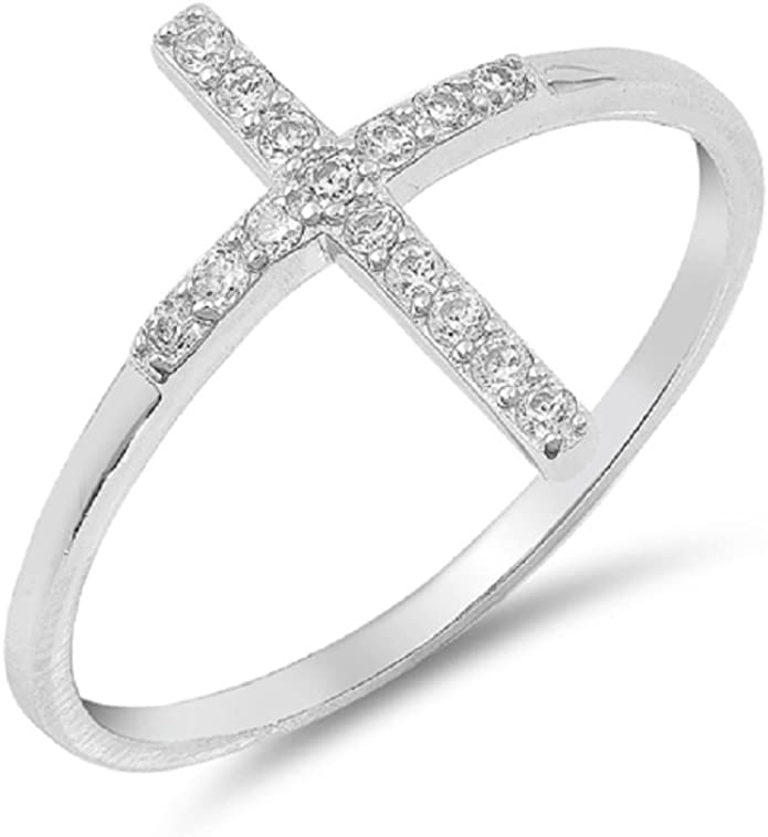Princess Kylie Round Shaped Cubic Zirconia Sideway Stone Wedding Ring Rhodium Plated Sterling Silver