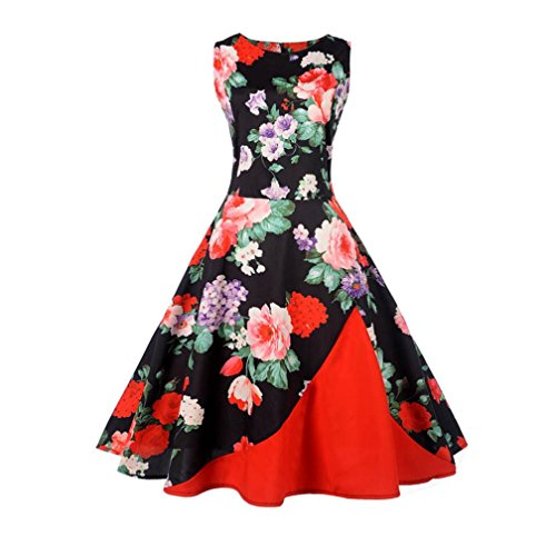 Kimloog Women's Sleeveless Retro Floral Embroidery Party Gown Patchwork Hem Swing Dress (L, D) by Kimloog
