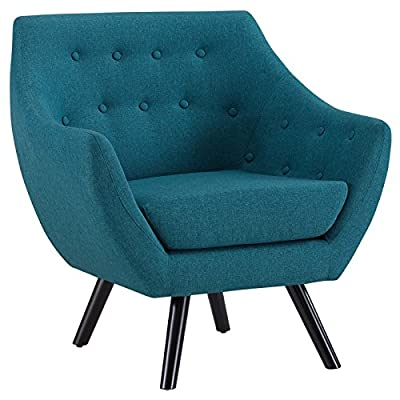 Modway Allegory Mid-Century Modern Upholstered Fabric Accent Arm Chair in Teal - MID-CENTURY MODERN ARMCHAIR - Showcasing a warm contemporary look, Allegory displays timeless appeal and modern sophistication. Enhance your living room decor with this versatile mid-century armchair LOUNGE SPOT - Make a statement in the den, recreation area, home office, family room, or apartment with an inviting modern armchair with flared arms. Delve deep in both comfort and conversation INVITING DESIGN - Upholstered in quality polyester, Allegory boasts densely padded foam cushions, fine stitching and an array of classic tufted buttons that heighten your space with organic appeal - living-room-furniture, living-room, accent-chairs - 51Xj%2B ZShZL. SS400  -