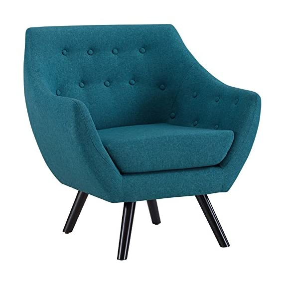Modway Allegory Mid-Century Modern Upholstered Fabric Accent Arm Chair in Teal - MID-CENTURY MODERN ARMCHAIR - Showcasing a warm contemporary look, Allegory displays timeless appeal and modern sophistication. Enhance your living room decor with this versatile mid-century armchair LOUNGE SPOT - Make a statement in the den, recreation area, home office, family room, or apartment with an inviting modern armchair with flared arms. Delve deep in both comfort and conversation INVITING DESIGN - Upholstered in quality polyester, Allegory boasts densely padded foam cushions, fine stitching and an array of classic tufted buttons that heighten your space with organic appeal - living-room-furniture, living-room, accent-chairs - 51Xj%2B ZShZL. SS570  -