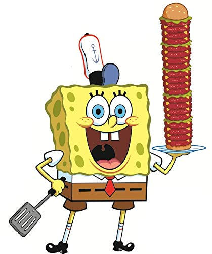 (8 Inch Spongebob Squarepants Sponge Bob Krabby Patty Krusty Krab Removable Peel Self Stick Adhesive Vinyl Decorative Wall Decal Sticker Art Kids Room Home Decor Girl Boy Children Bedroom 6x8 Inch)
